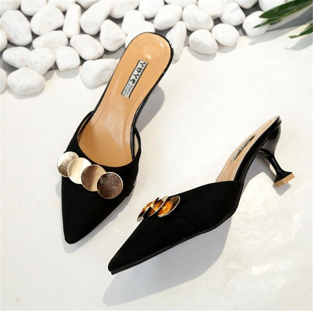 Pointed Toe Bow Kitten Heel Mule Pump Slip on Slide Shoes B07DN4ZYW9 38/7.5 B(M) US Women|Black-2