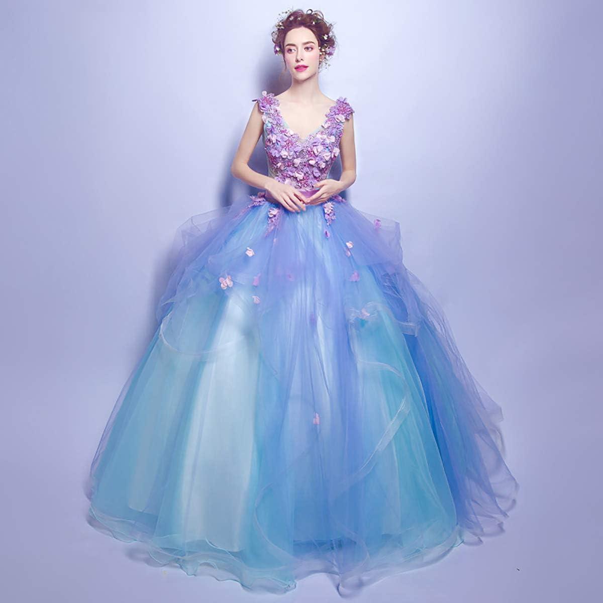 W/&TT Tul de Las Mujeres Encaje Princesa Traje Flor Applique Fuera de Hombros Cenicienta Prom Vestido Vestido de Noche de Boda 16 Vestidos de quincea/ñera,Pink,XS