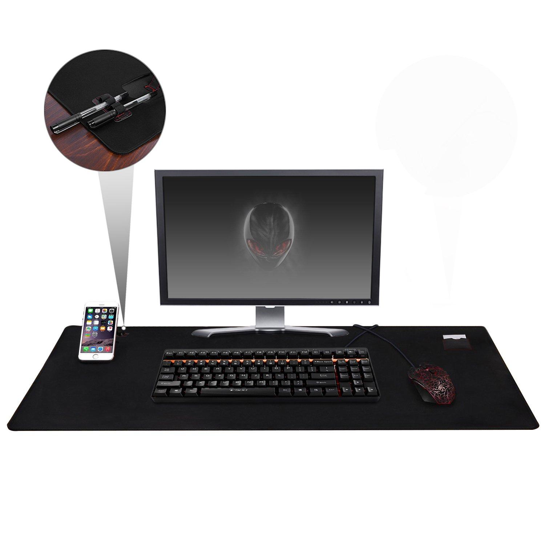 Alfombrilla Ratón Tamaño XXL, Cojoie Alfombrilla Ratón para Gaming y Oficina con Gran Tamaño (885 x 580*3 mm), Mousepad con Doble Soporte para Teléfono, Amplia y Durable, Negro Jelly Comb CP000375