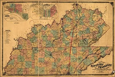 20x30 Poster; Map Of Kentucky And Tennessee 1861 P3