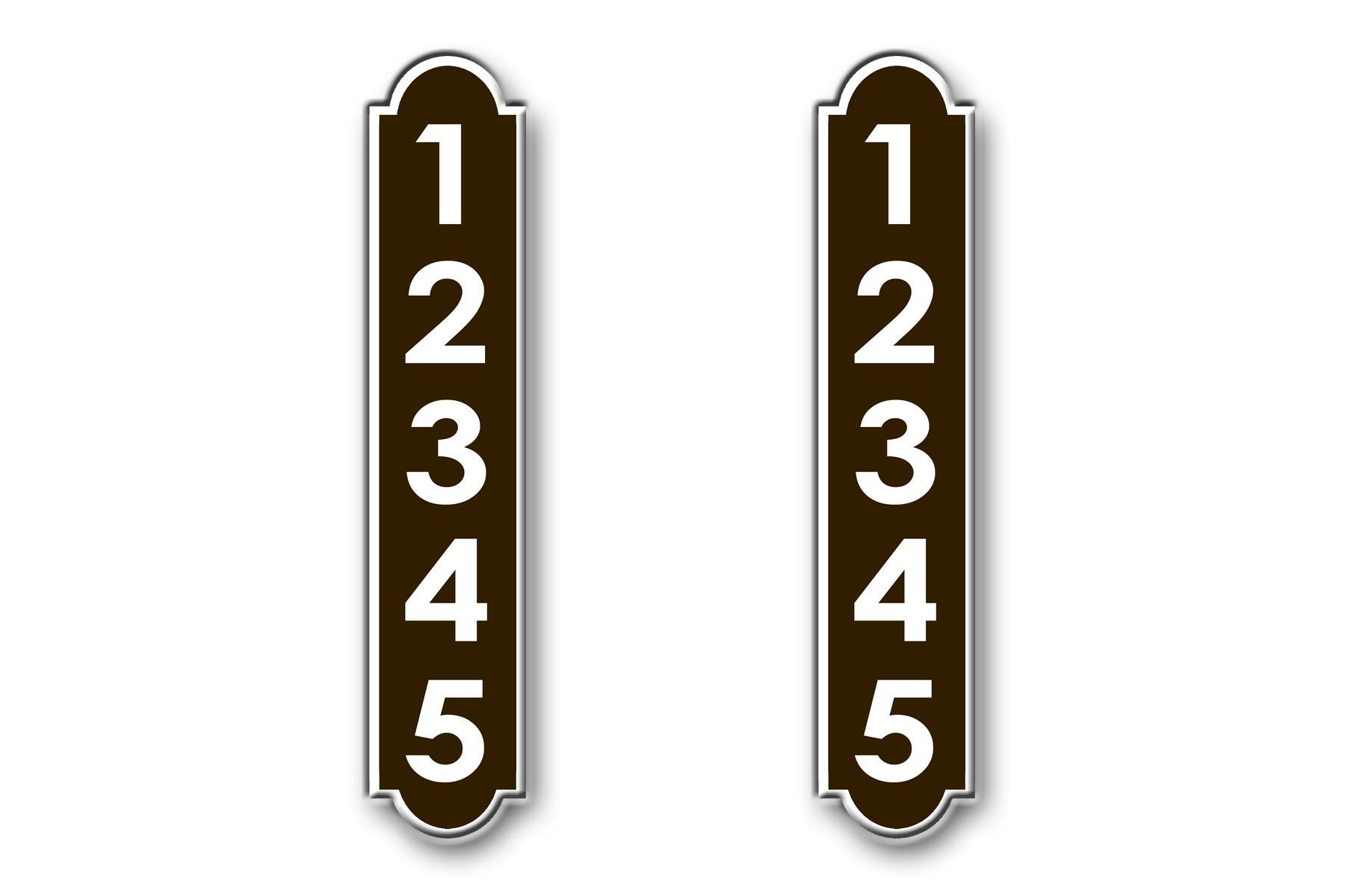 2 Reflective Vertical Mailbox Fancy Signs (Brown) by West Coast Curb-N-Sign