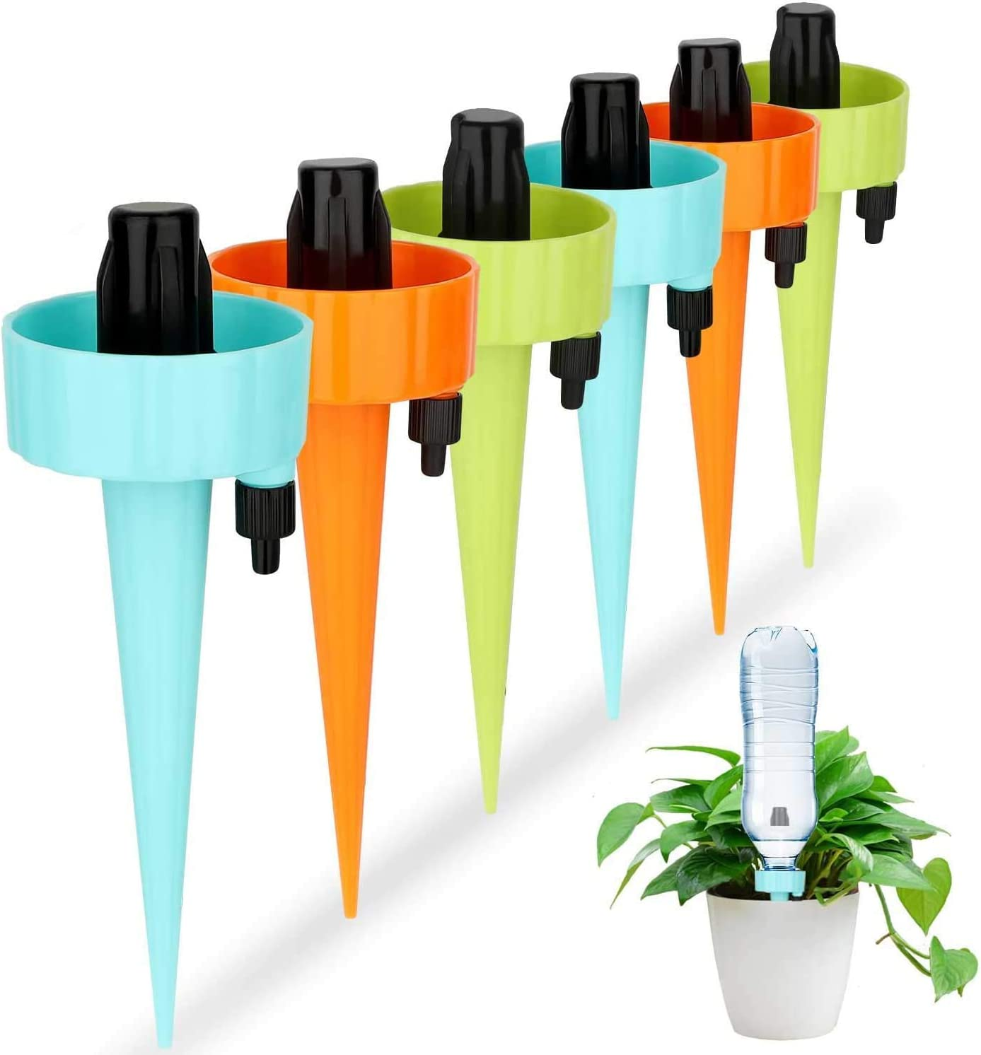 Lonfenner Automatic Watering Device with Slow Release Control Valve Switch,Plant Waterer,Self Spikes Irrigation System,Plant Watering Spikes for Indoor or Garden,6PCS/Set
