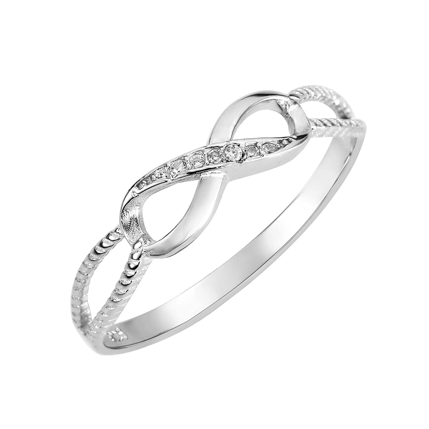 Cubic Zirconia Designer Aura Infinity Ring Sterling Silver (Color Options, Sizes 3-13)