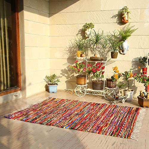 Bohemian Floor Rag Rug - Vintage Indian Hand Woven Fresh Chindi Fabric Braided Doorway Rag Rugs - Multicolour - 4x6 Feet