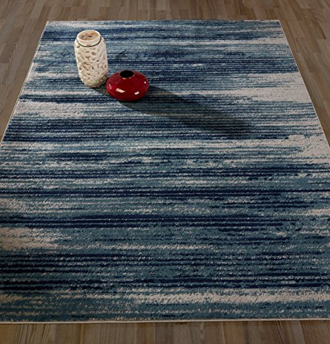 Diagona Designs JAS2046-5X7 Contemporary Stripes Design Area Rug, Teal/Navy/Beige, 5
