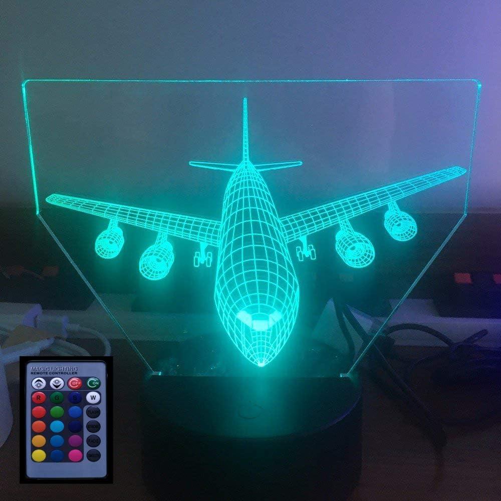 3D Ilusión Optica Avión Luz Nocturna Control Remoto 7/16 Colores Cambio de Botón Táctil USB de Suministro de Energía LED Lámpara de Mesa Lámpara Regalo de Cumpleaños Navidad