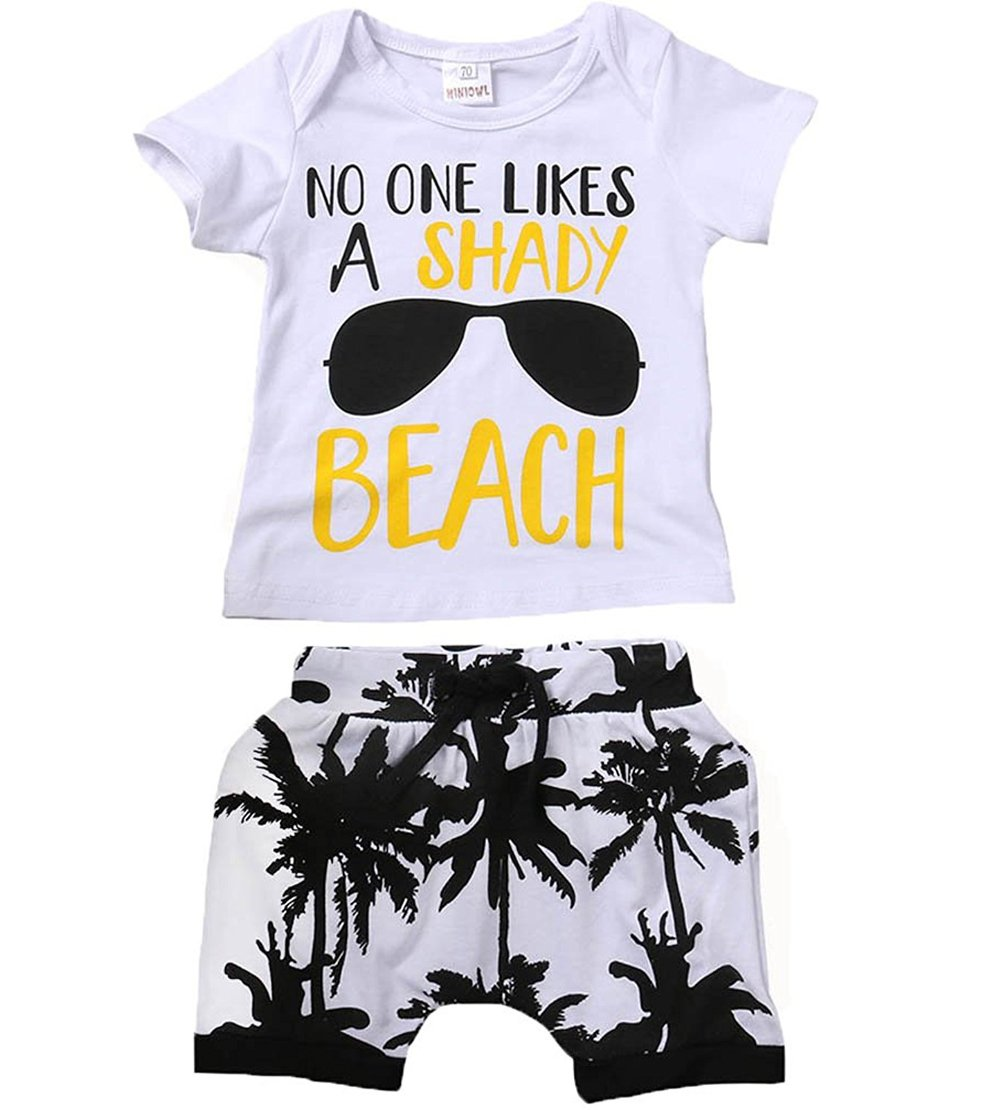 Younger star Kids Toddler Baby Boys Girls No One Likes A Shady Beach Glasses Shirt and Palm Shorts Set (White, 18-24 Months)