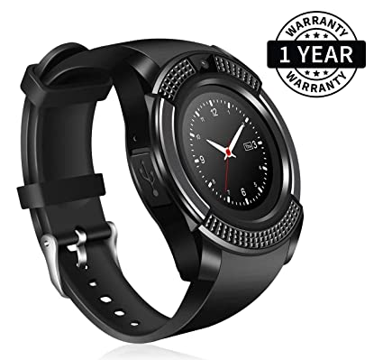 d3da6ae0a Zaptin V8 Sport Bluetooth Round Dial Wrist Smart Watch Camera SIM TF Slot  for iOS Android  Amazon.in  Computers   Accessories