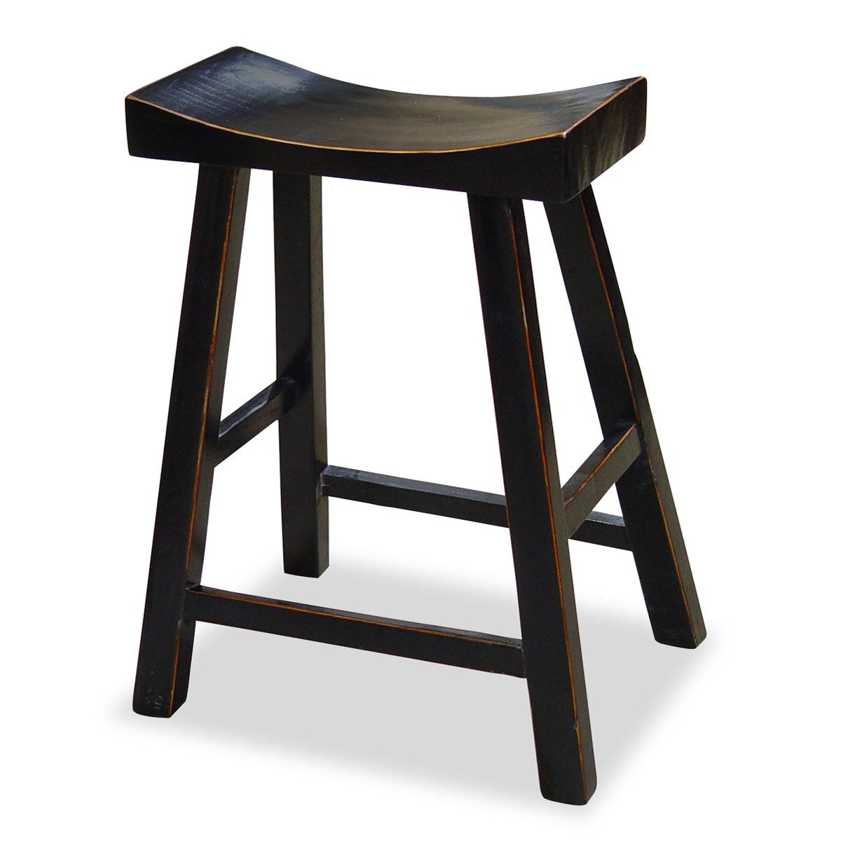 Amazon com china furniture online elmwood bar stool 25 inches high zen style distressed black finish kitchen dining
