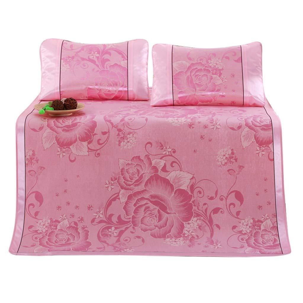 Startview 3PCS Ice Silk Mattress Topper Pad, Cooling Summer Sleeping Mat and Pillow Shams Sets (Pink, 70.9x78.7 inch)