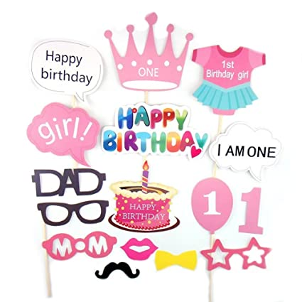 amazon com losuya baby girl 1st birthday party photo booth props