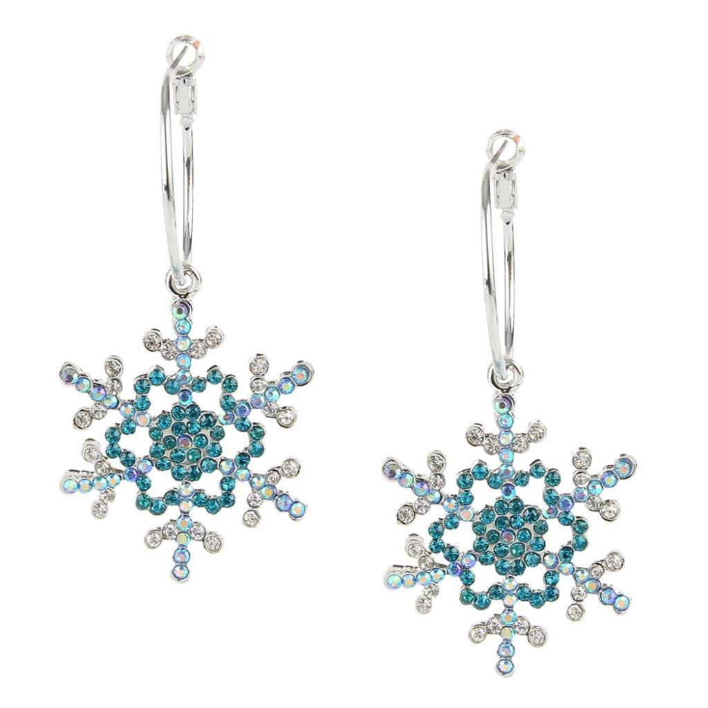 EVER FAITH Christmas Gift Silver-Tone Snowflake Austrian Crystal Hoop Dangle Earrings A10203-3A