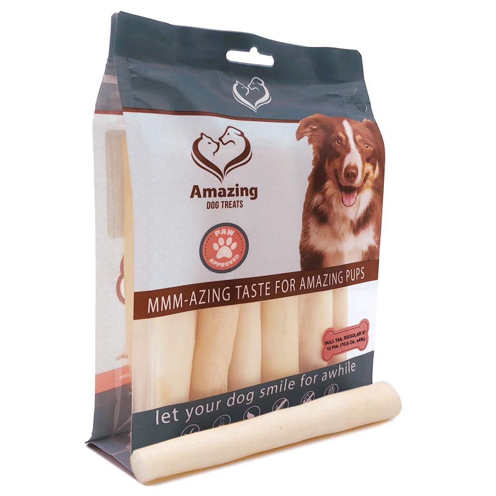 6 Inch Regular Cow Tail Dog Chew- Premium Quality - Sourced from Grass Fed Cattle - Long Lasting Dog Chew- Rawhide Alternative (6 Inch Regular - 12 Pack)
