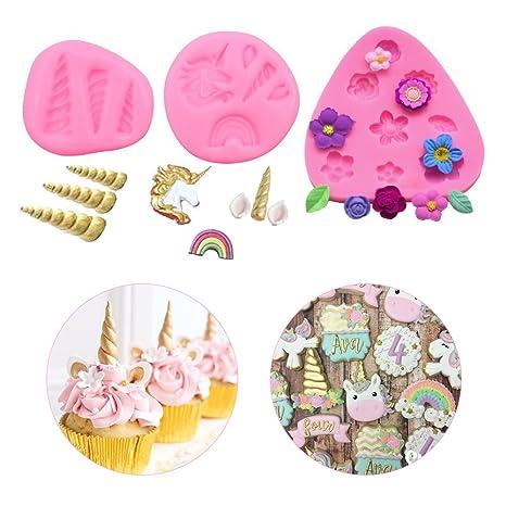 YouthUnion Mini Unicorn Candy Moldes, Silicona de Calidad Alimentaria Unicornio Molde Cuerno Oídos Flor Cupcake