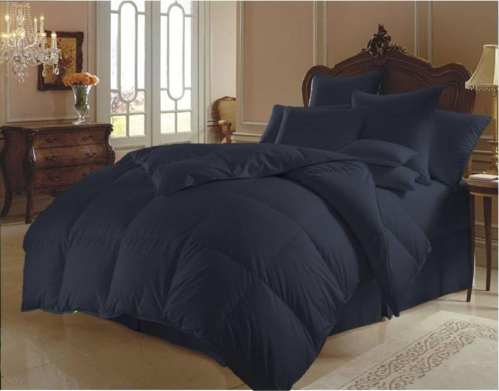 MoonLight Bedding 100% Egyptian Cotton Down Alternative All Season Soft Quilted 1-Piece Comforter with 300 GSM Microfiber Fill 800 TC Duvet Insert Hypoallergenic (Full/Queen, Navy Blue)