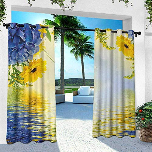 Yellow and Blue, Outdoor Patio Curtains Waterproof with Grommets,Romantic Bouquet of Hydrangeas and Asters on Water Background, W108 x L108 Inch, Violet Blue Earth Yellow