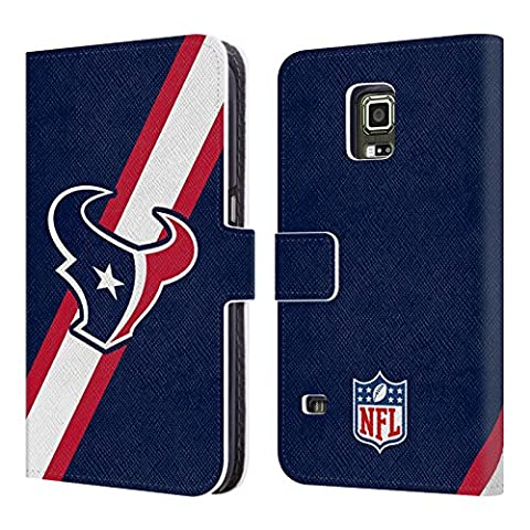 Official NFL Stripes Houston Texans Logo Leather Book Wallet Case Cover For Samsung Galaxy S5 (Houston Texans Samsung S5 Case)