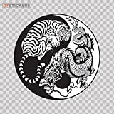 Sticker Dragon Tiger Yin Yang durable Boat mountains chinese colorful fearful (6 X 6 Inches) Fully Waterproof Printed vinyl sticker
