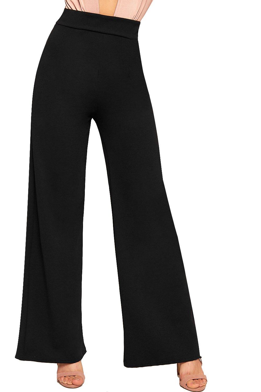 WearAll Women's Flared Wide Leg Plain Basic High Waist Pants Palazzo Trousers - Black - US 6 (UK 10)