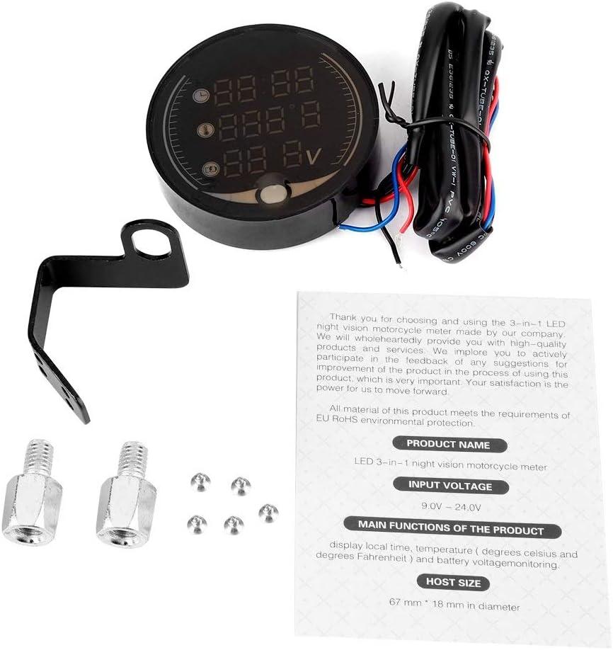 Outbit Motorrad Thermometer 3 In 1 Motorrad Elektronisches Digital Thermometer Voltmeter Zeituhr Temperaturanzeige Garten