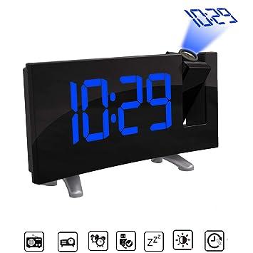 """AOZBZ Proyección Techo Reloj de Pared Proyector Digital Radio Reloj Despertador Radio FM Reloj de 7.1"""""""