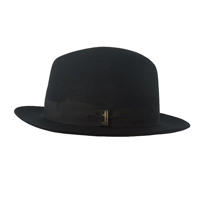 Borsalino cappello donna nero con nastro nero tesa piccola mod 370365 100%  feltro MADE IN fd613e2321f5