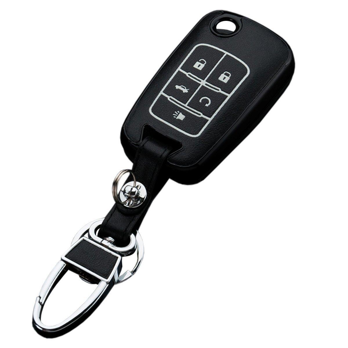 Sakali Car Key Case Cover for Chevrolet Car Folding Key Holder Keychain Leather Black