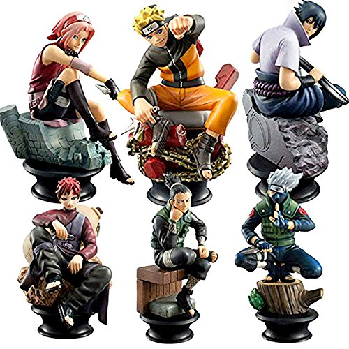 Little Bear Junkers Naruto 6 Piece Set - Kakashi, Sasuke, Sakura, Naruto, Gaara and Shikamaru Chess Pieces (Bear Chess Set)