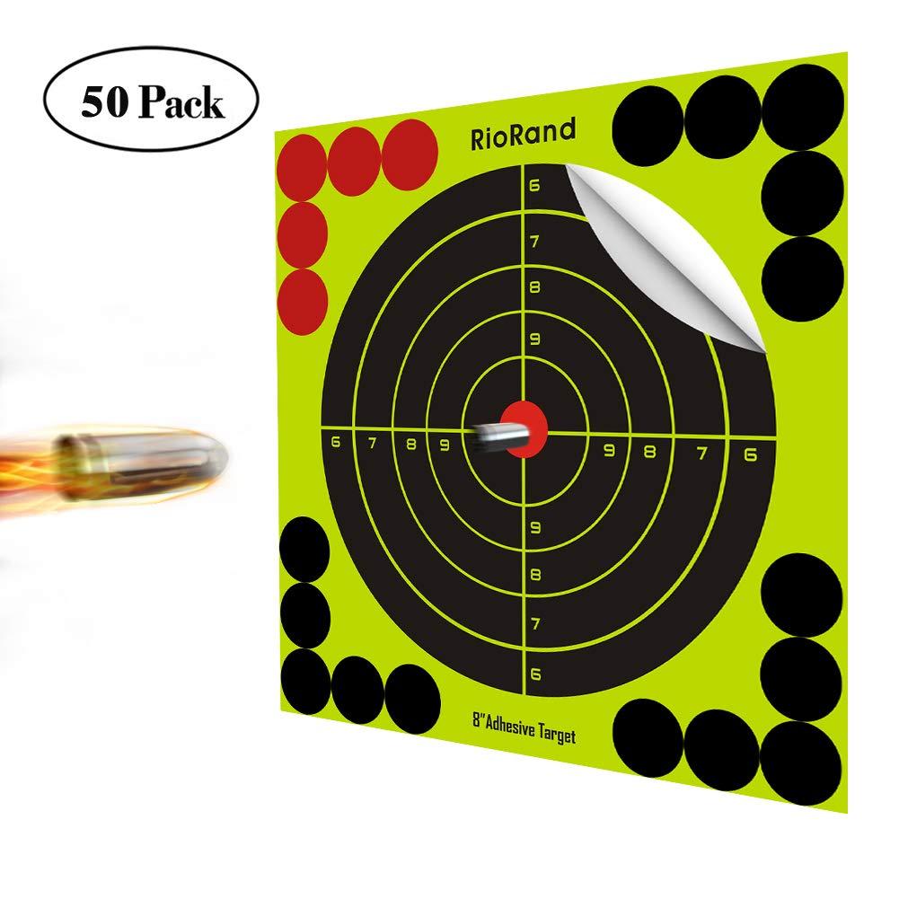 Shooting Targets 8 Inch Self Adhesive Paper Targets Stickers 50 Pack for Gun Rifle Pistol Bb Gun Airsoft Pellet Gun Air Rifle