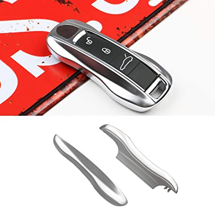 2PCS Remote Key Covers Compatible with Porsche, Jaronx Glossy Silver Key Fob Shell Cover Painted