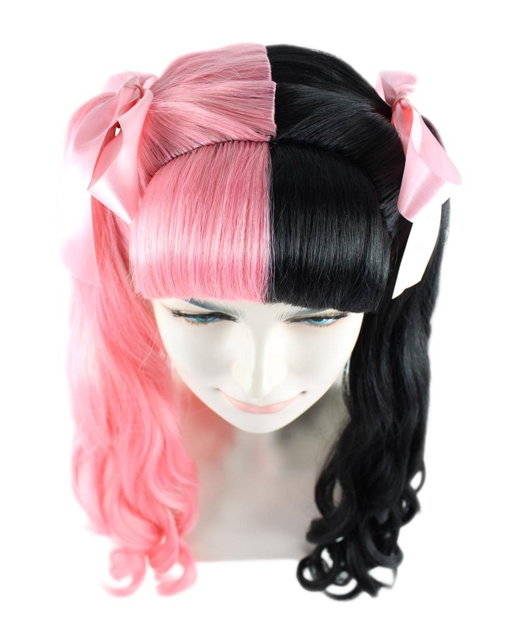 Long Curly Wigs Two Tone Ponytail Hair w/Bangs Ribbon Bows For Pop Singer Cosplay Costume Party