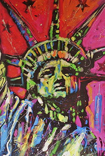 Toland Home Garden Statue of Liberty 28 x 40 Inch Colorful New York Pop Art Decorative House Flag
