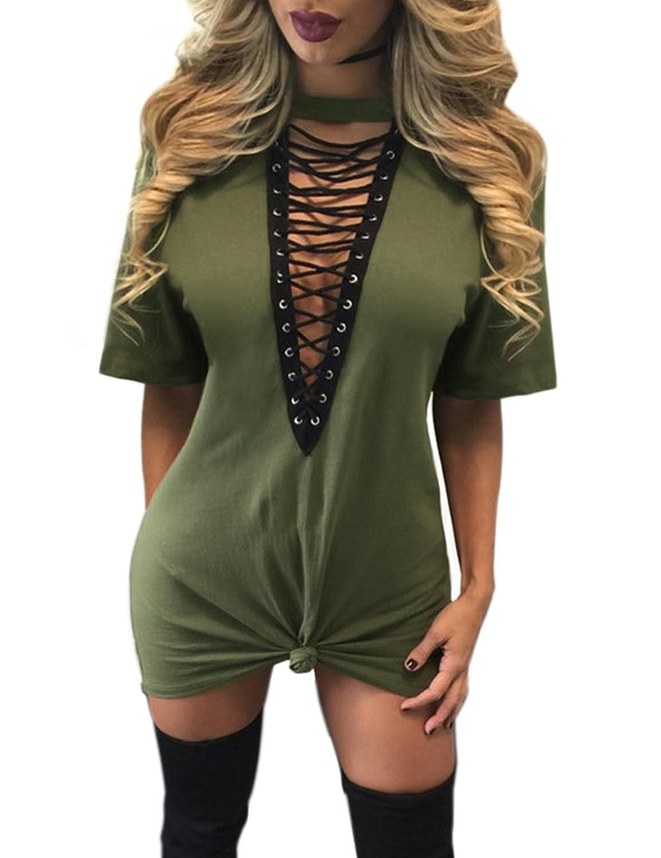 ISASSY Damen Mini Kleid Bluse Shirt Minikleid mit tiefer V-Kragenschnitt  Long Shirt Kleid kurz: Amazon.de: Bekleidung