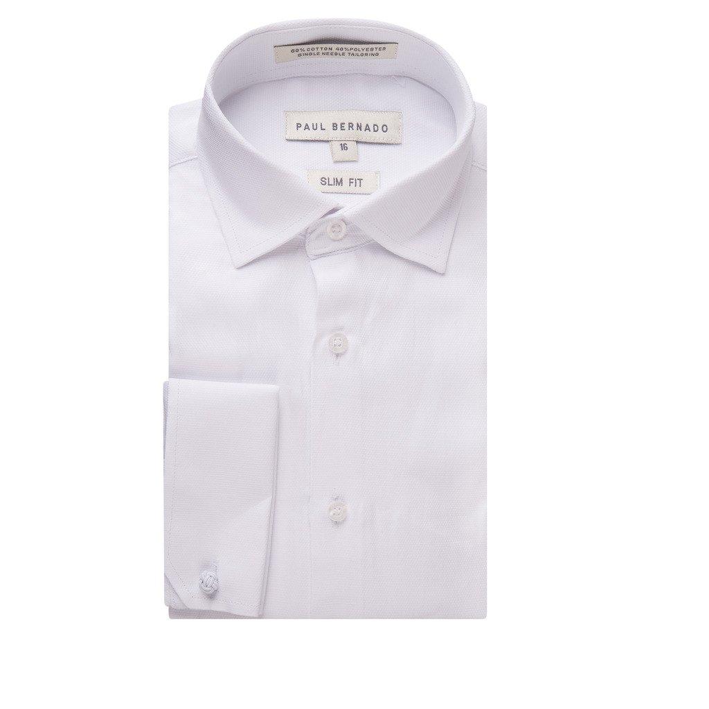 Paul Bernado Boy's 2205SLFC Slim Fit French Cuff Pique Design Dress Shirt - White - 10