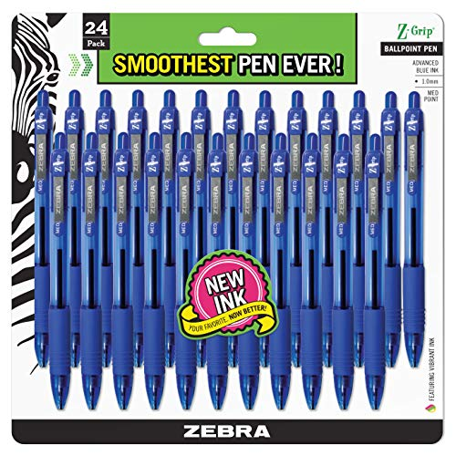 Zebra Pen Z-Grip Retractable Ballpoint Pen, Medium Point, 1.0mm, Blue Ink, ()