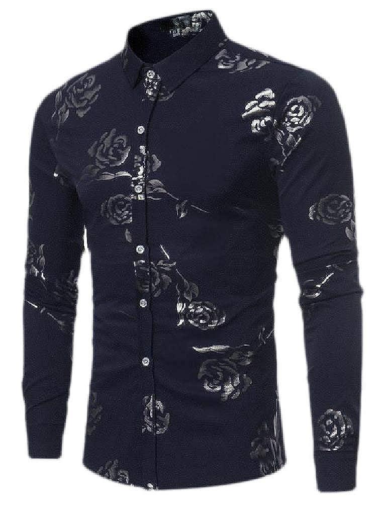 Hajotrawa Mens Business Jacquard Lapel Neck Curved Hem Button Down Shirts