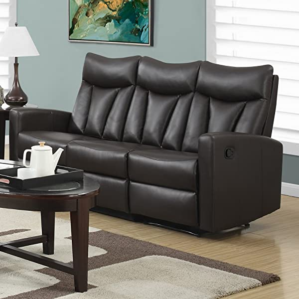 Monarch Specialties I 87BR-3 Reclining Sofa in Brown Bonded Leather