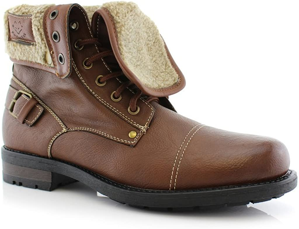 Polar Fox New Mens ANKLEBOOTS Military Combat Style Leather Lined ROOLLOVER Shoes//DK Brown MPX-506015