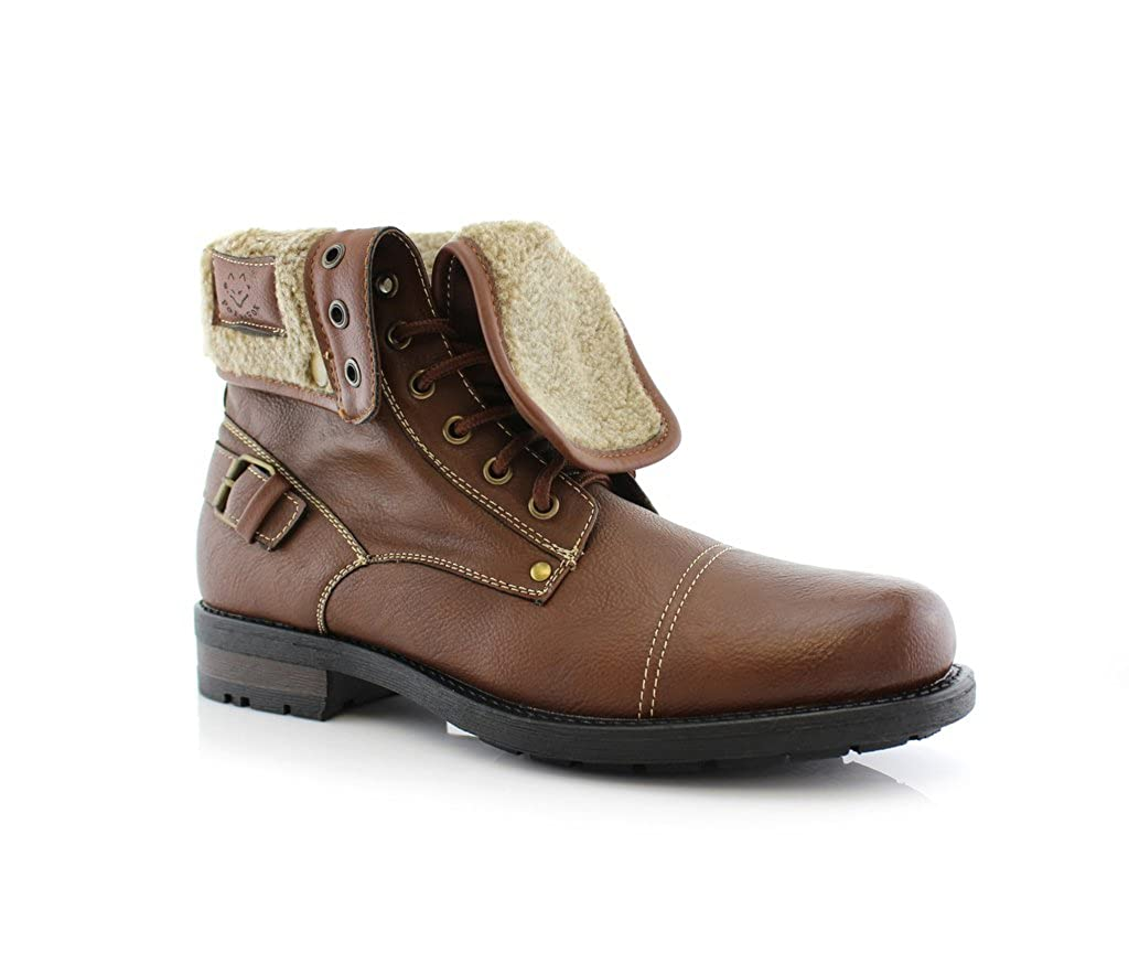Polar Fox Men's 506015 Military Fold Down Wool Lined Combat Style Desert Ankle Boots M-506015