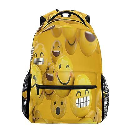 Emoji Emoticon Character Mochila impermeable para la escuela, bolso de hombro, mochila para gimnasio
