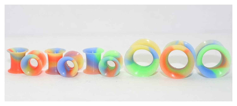 Amazon.com: Par Tie Dye silicona Dilataciones para orejas ...