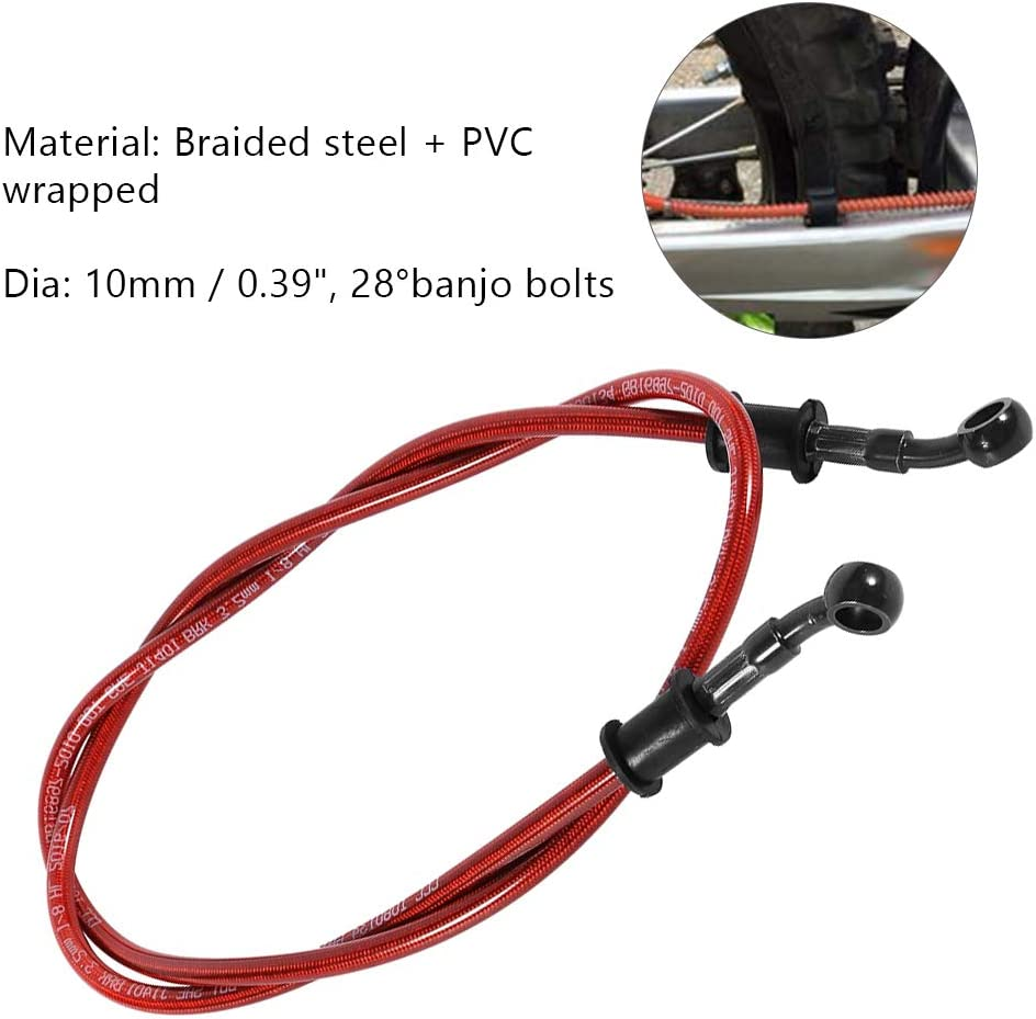 Aramox Motorcycle Oil Hose 120cm Motorcycle Braided Steel Brake Clutch Oil Hose Line Pipe Colorful 50cm 600mm-Black
