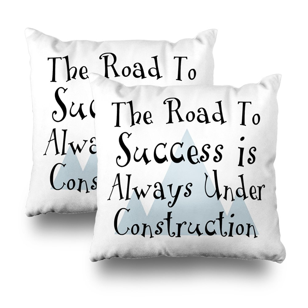 ONELZ The Road To Success Is Always Under Construction Square Decorative Throw Pillow Case, Fashion Style Zippered Cushion Pillow Cover (18X18 inch,Set of 2)