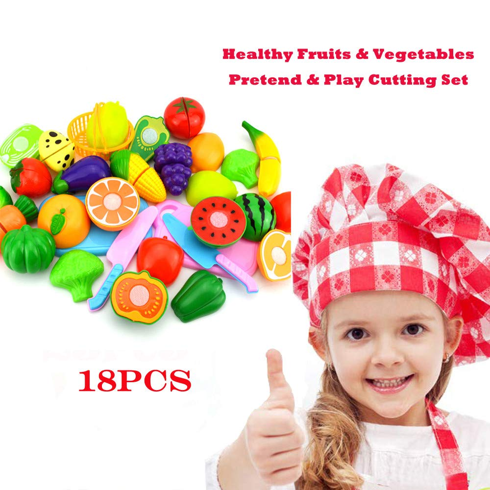 Auwish Kid Play Food Cutting Set | Plastic Fruits Vegetables Kitchen Pretend Food Playset Interactive Toys Gifts for Christmas (B_18 pcs) by Auwish