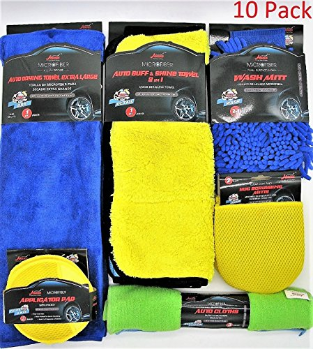 Price comparison product image 10pc Ultimate Car Cleaning Kit,  Home Cleaning Kit, - Car Wash Microfiber Towels and Auto Detailing Accessories- Premium Grade Microfiber cleaning kit (Set of 10)