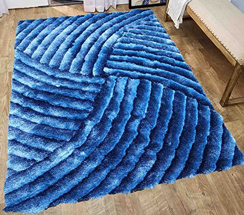 8x10 Shag Shaggy Fluffy Fuzzy Furry Modern Contemporary 3D Decorative Designer Soft Bedroom Living Room Carpet Area Rug Light Blue Dark Blue Aqua Blue Turquoise Two Tone Sale Discount - SAD 259 Blue