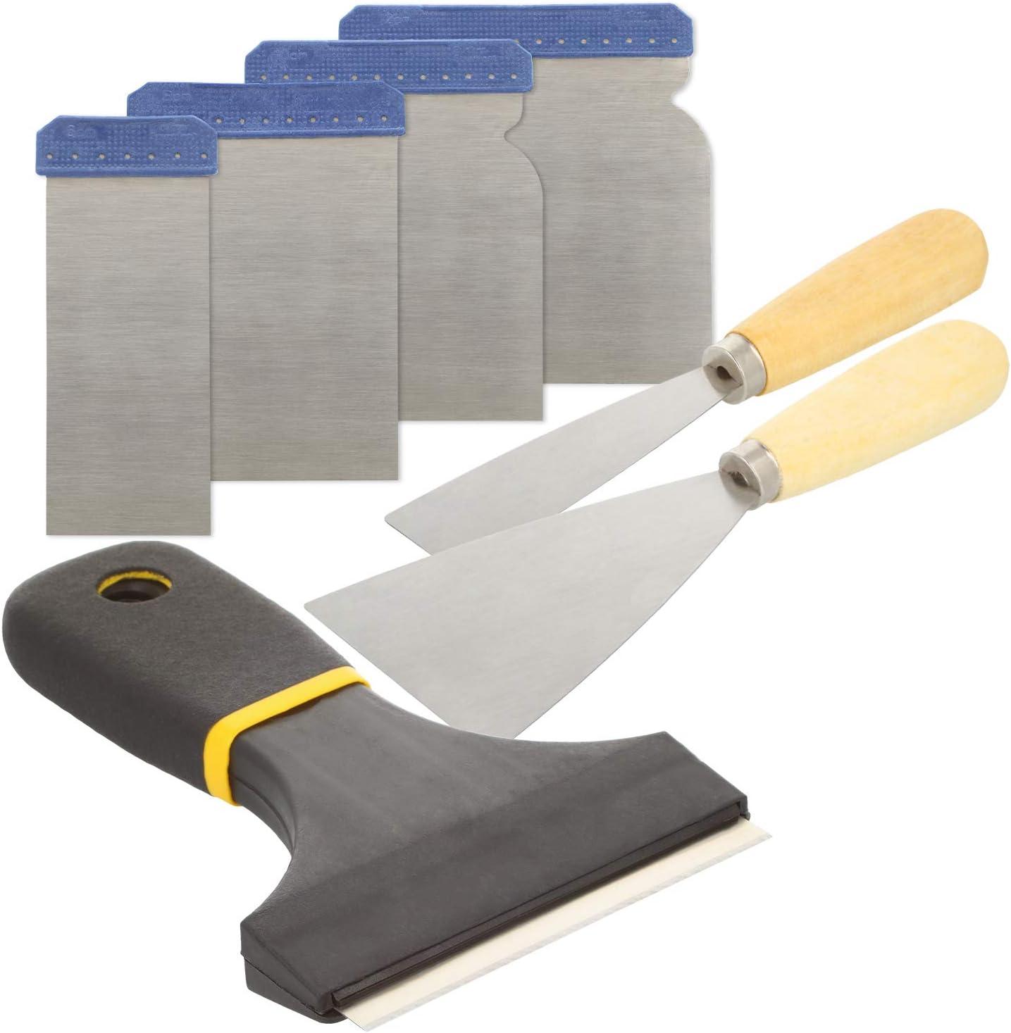 Spatule Japonaise et grattoir /à Peinture la r/énovation et lart Diverses spatules pour Les Loisirs Set 01-09 pi/èces la Construction com-four/® Ensemble de 9 spatules