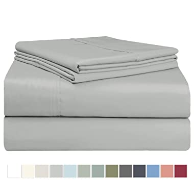 "Pizuna 400 Thread Count Cotton King Cotton Sheets Set, 100% Long Staple Cotton Satin 4pc Bed Sheets Light Grey Soft Cotton Sheets Set Deep Pockets fit Upto 17"" (Silver Gray King 100% Cotton Sheets)"