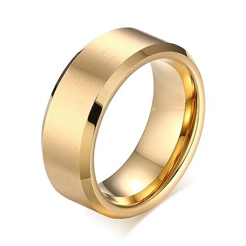 8 mm negro carburo de tungsteno anillos de boda banda para hombres mate acabado pulido borde