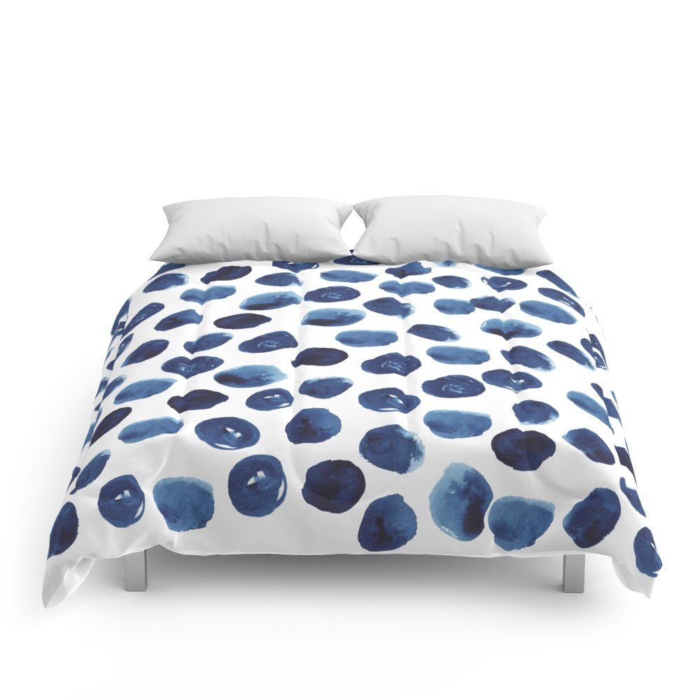 Society6 India - Blue Paint, Ink Spots, Design, Watercolor Brush, Dots, Cell Phone Case Comforters Full: 79'' x 79''